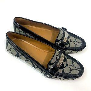 NWOT Coach Felisha black classic woven loafer 8